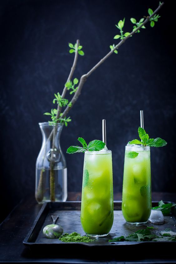 Matcha Mint Juleps Recipe Matcha Mint Summer Drink Recipes Tea Cocktails