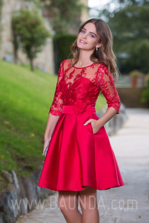 0f1fae279 Vestido de fiesta corto 2016 Baunda 1634 rojo