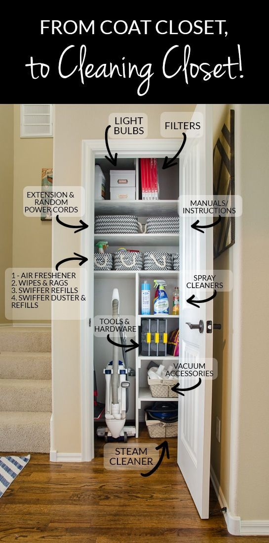 Gather All Your Cleaning And Interior Home Upkeep Supplies Into One Location Like A Small Coat Cleaning Closet Home Organization Cleaning Closet Organization