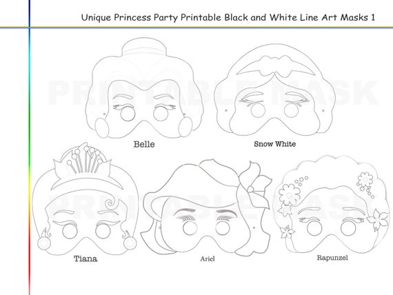 Coloring Pages Princess Party Printable Black And White Line Art