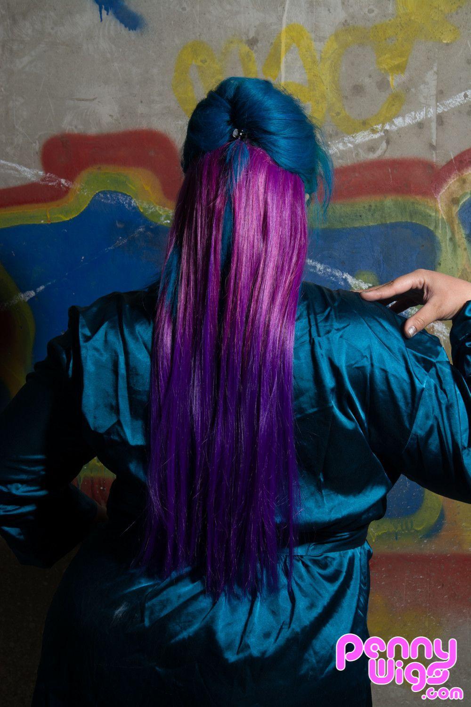 Violet Purple Ombr Dip Dye Clip In Hair Extension Hair
