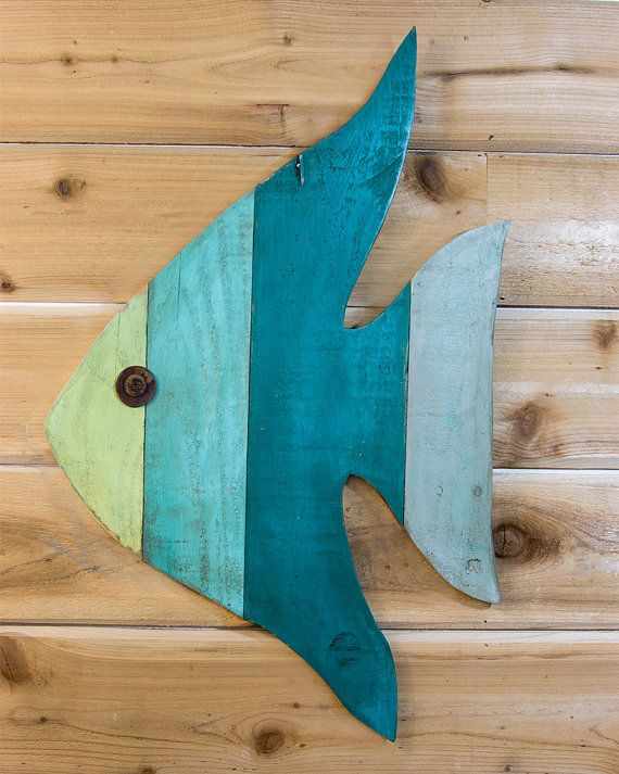Painted Angel Fish Art - fish decor wall art from reclaimed lumber - great for a beach house, lake house, coastal theme room or ocean decor #woodart