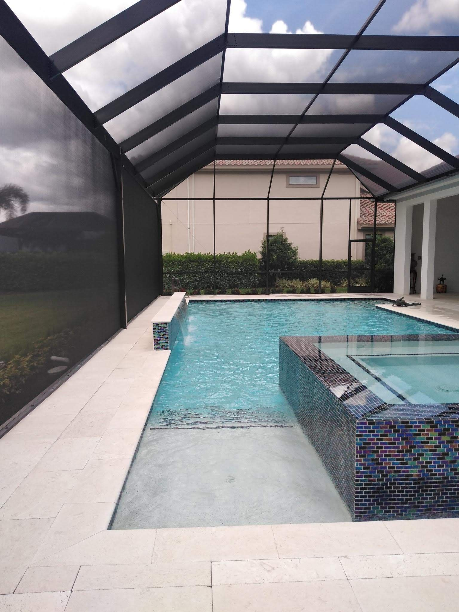 Pool Enclosure By Dreamwork Aluminum Swfl Pool Screen Enclosure Pool Houses Pool