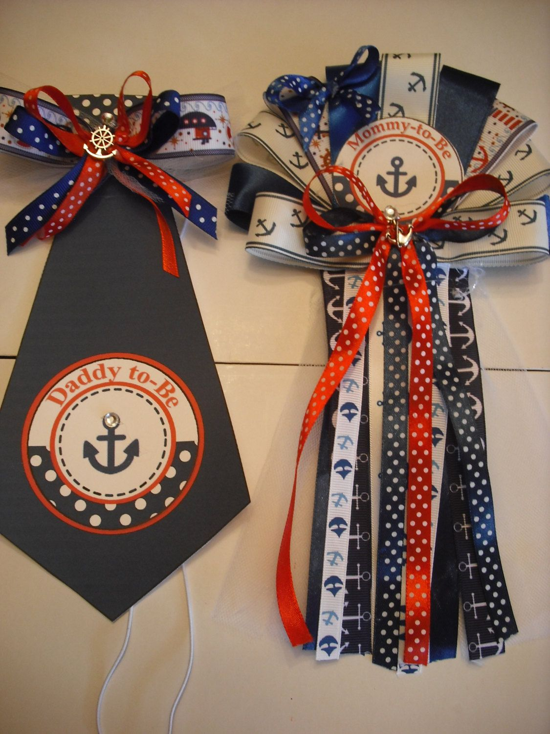 Baby Shower Corsage And Tie Mommy Daddy Nautical Ocean Sailor