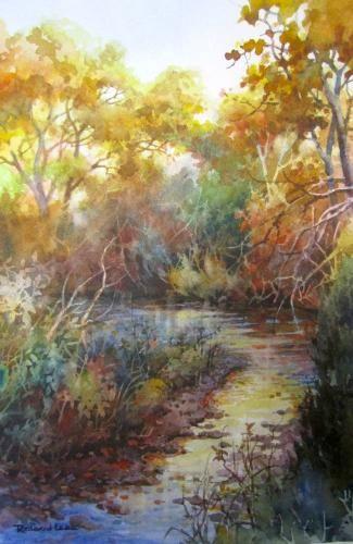 Little Creek , Watercolor painting of quiet autumn creek - Watercolor Paintings by Roland Lee