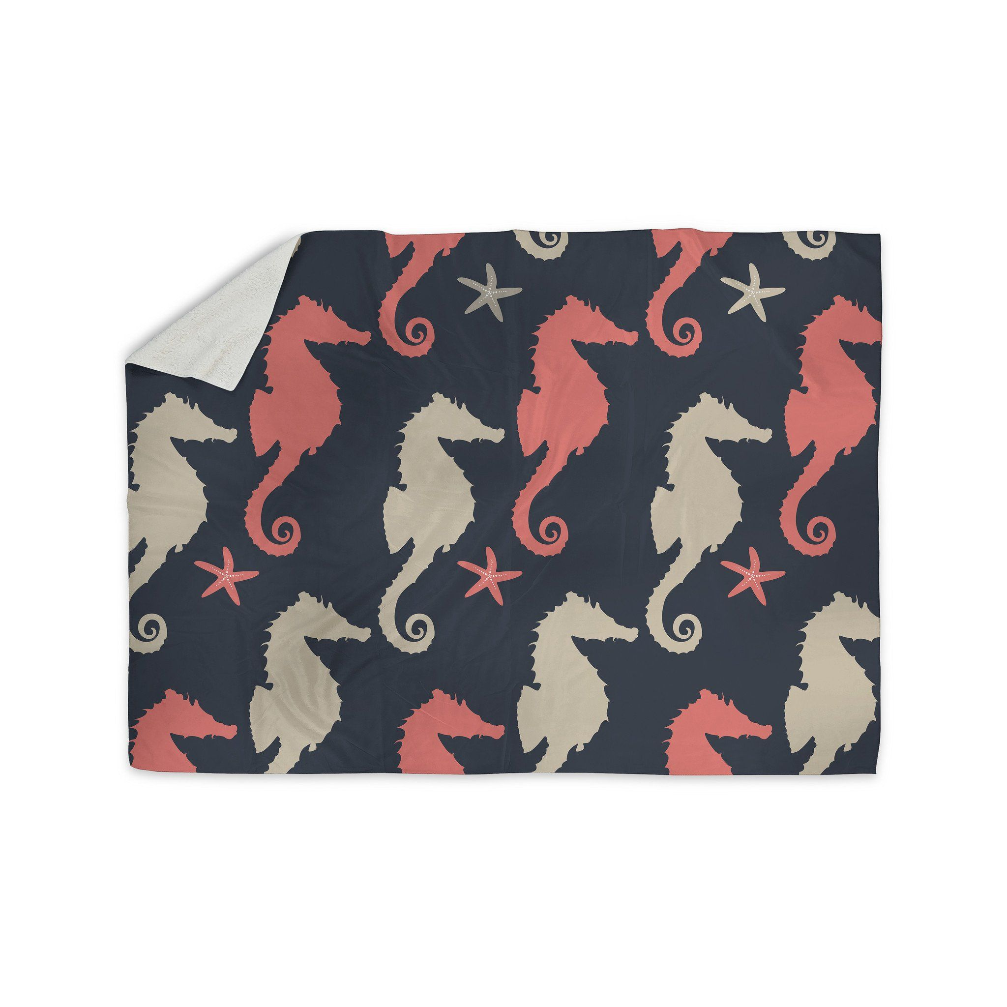 Afe Images Gray And Coral Seahorses Sherpa Blanket From Kess