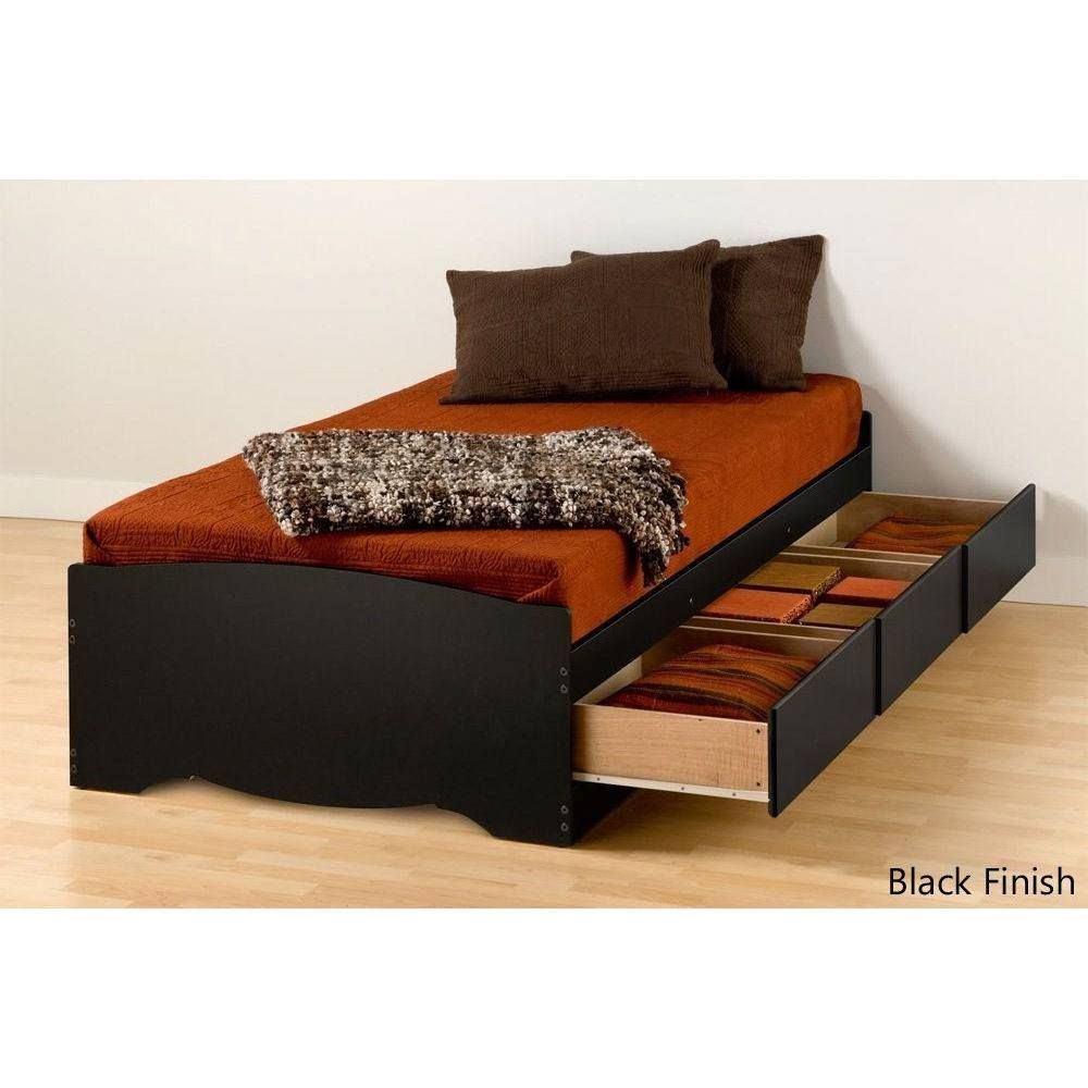 Twin Xl Platform Bed Frame With 3 Storage Drawers In Black In 2020