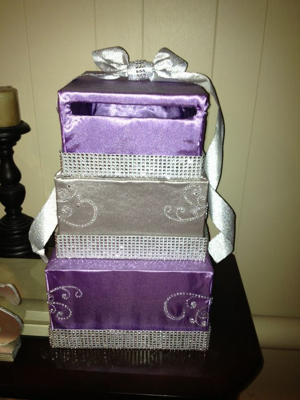 wedding gift card box diy card box revised purple and silver with some bling
