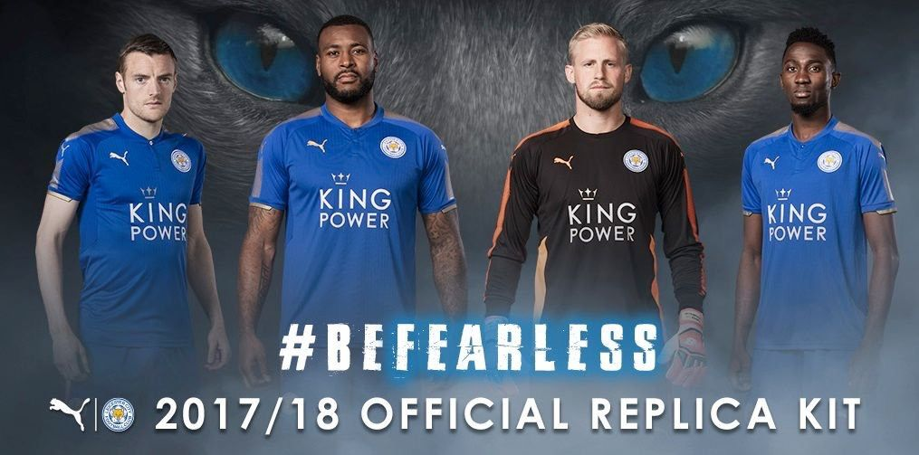 be8a3e443cc Leicester City 2017/2018 Home (Blue) and Goalkeeper Home (Black) kits