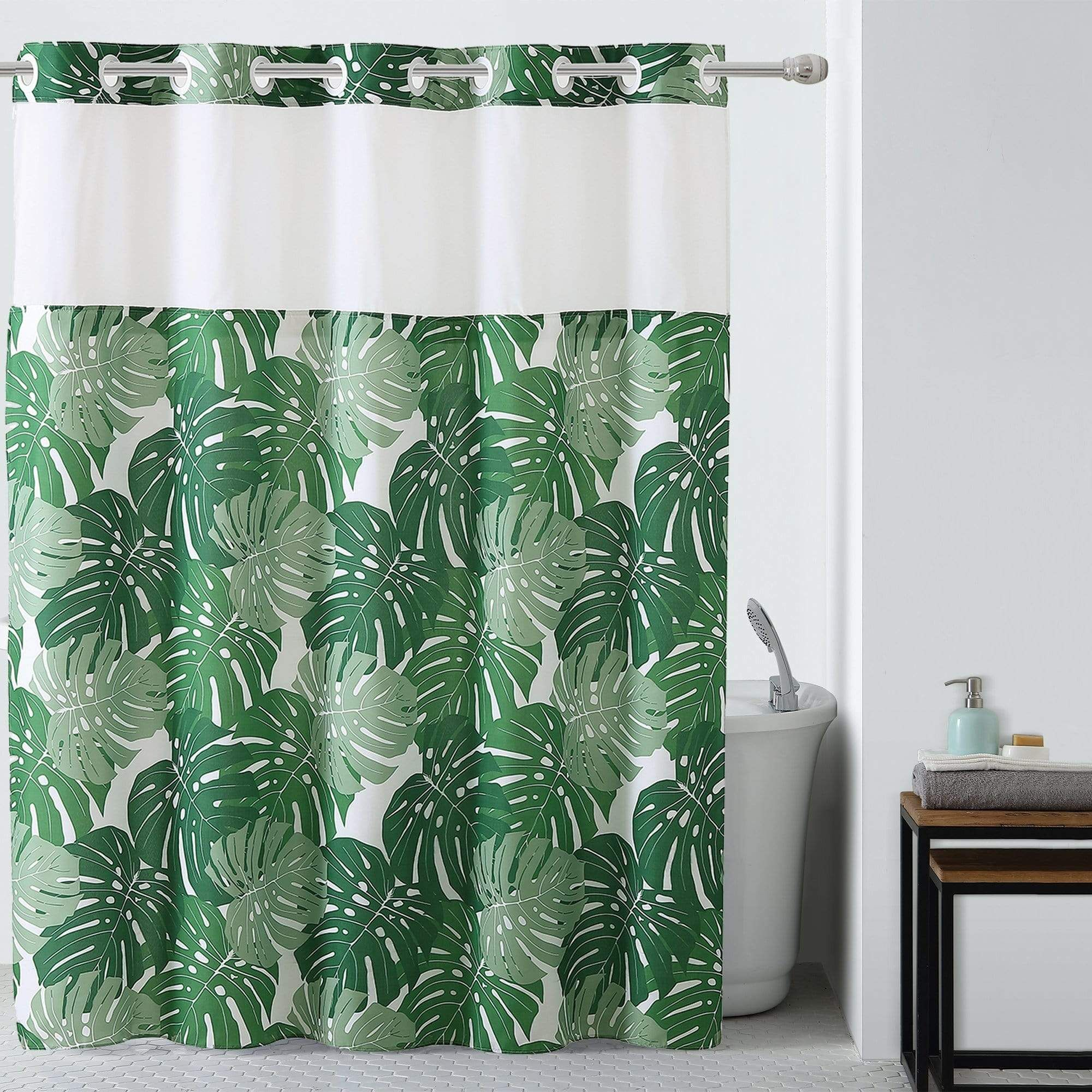 Palm Leaf Hookless Shower Curtain Includes Snap On Off Replaceable Liner Hookless Shower Curtain Curtains Floral Shower Curtains