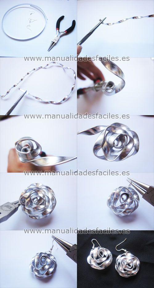 b8bd73b5ef4e Como hacer pendientes con hilo de aluminio plano | Proyectos que ...