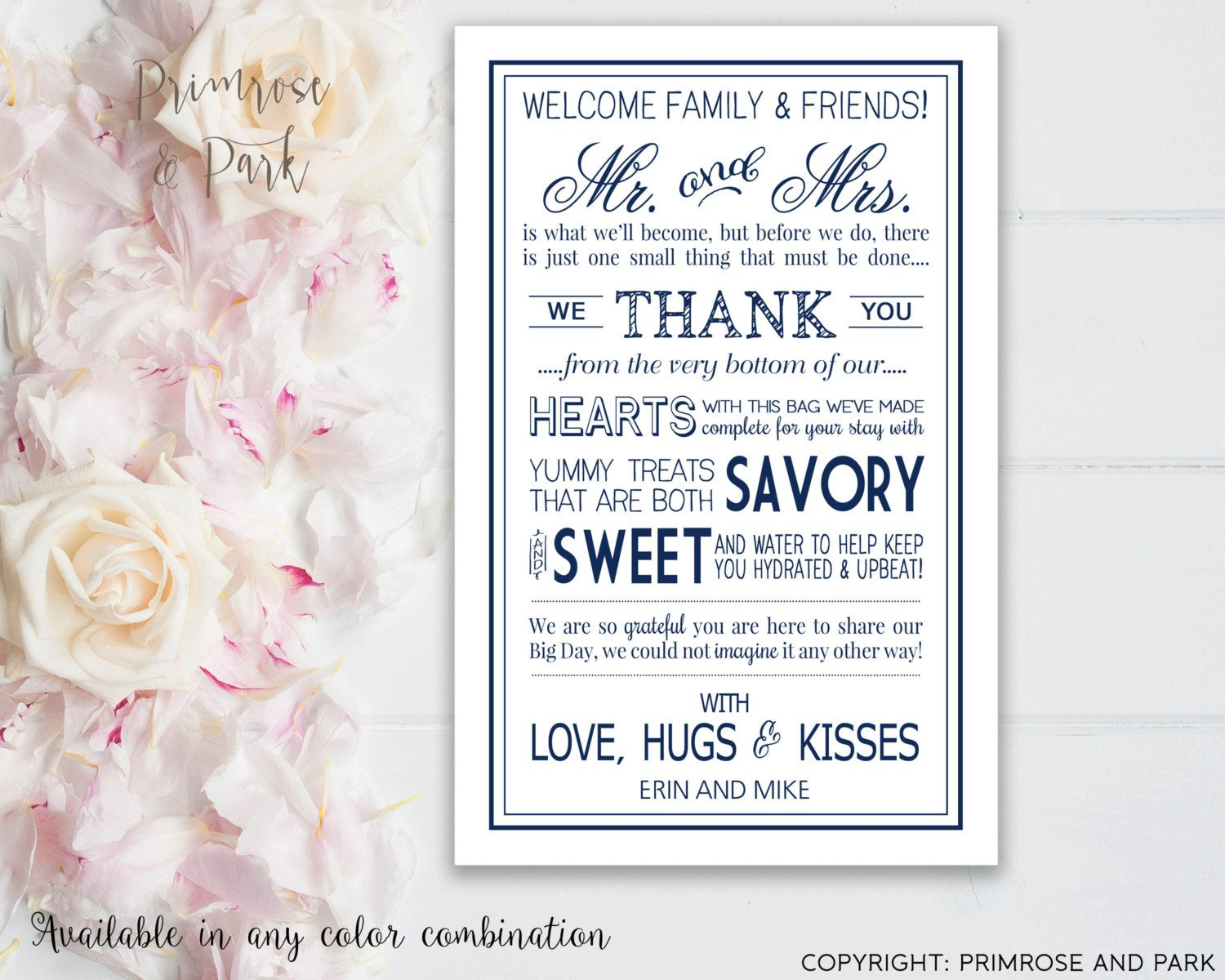 Wedding Welcome Letter Printable Card  Wedding Thank You Note