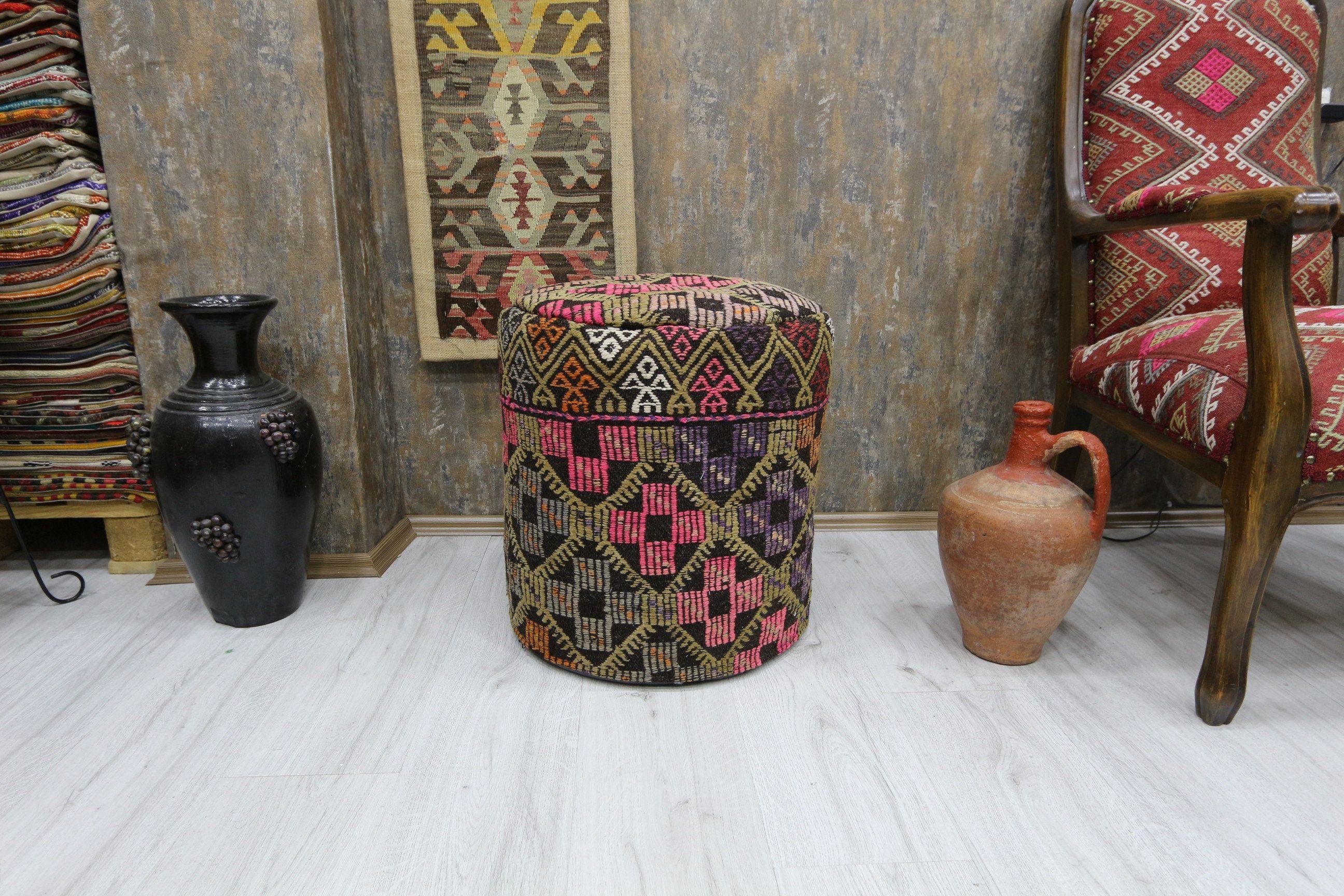 Kilim roud floor pouf brown pouf for living room for kids room ottoman pouf foot stool pouf floor pillow 18x18 kilim,cushion,pouf bean bag