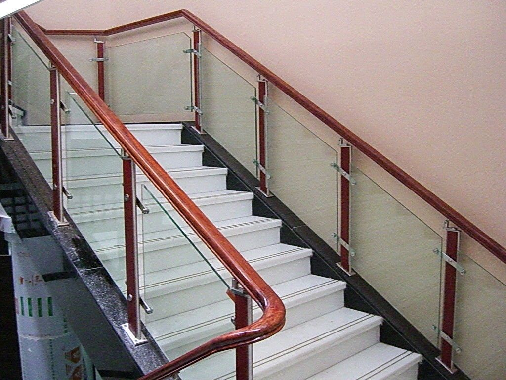 Glass railings railing clear light green safety for Indoor glass railing
