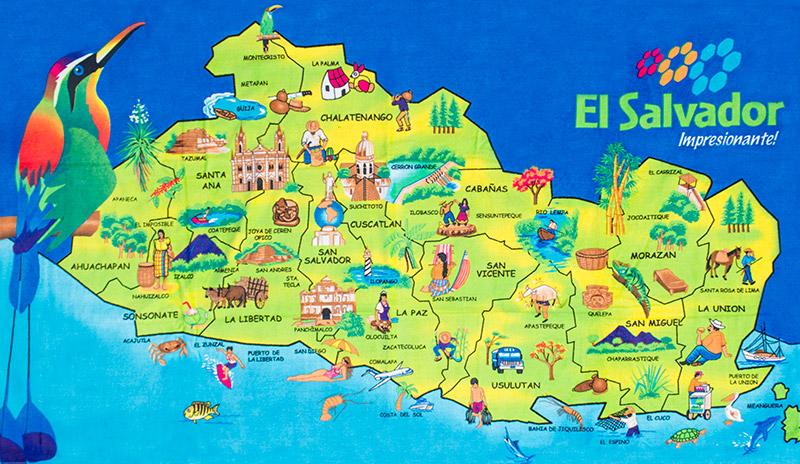 Mapa De El Salvador El Salvador Art America Map Art Central America Map