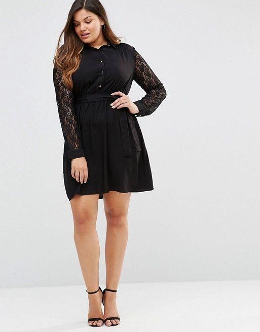 aa9baf51cf03 Club L Plus Shirt dress With Lace Sleeves   dress list   Dresses ...