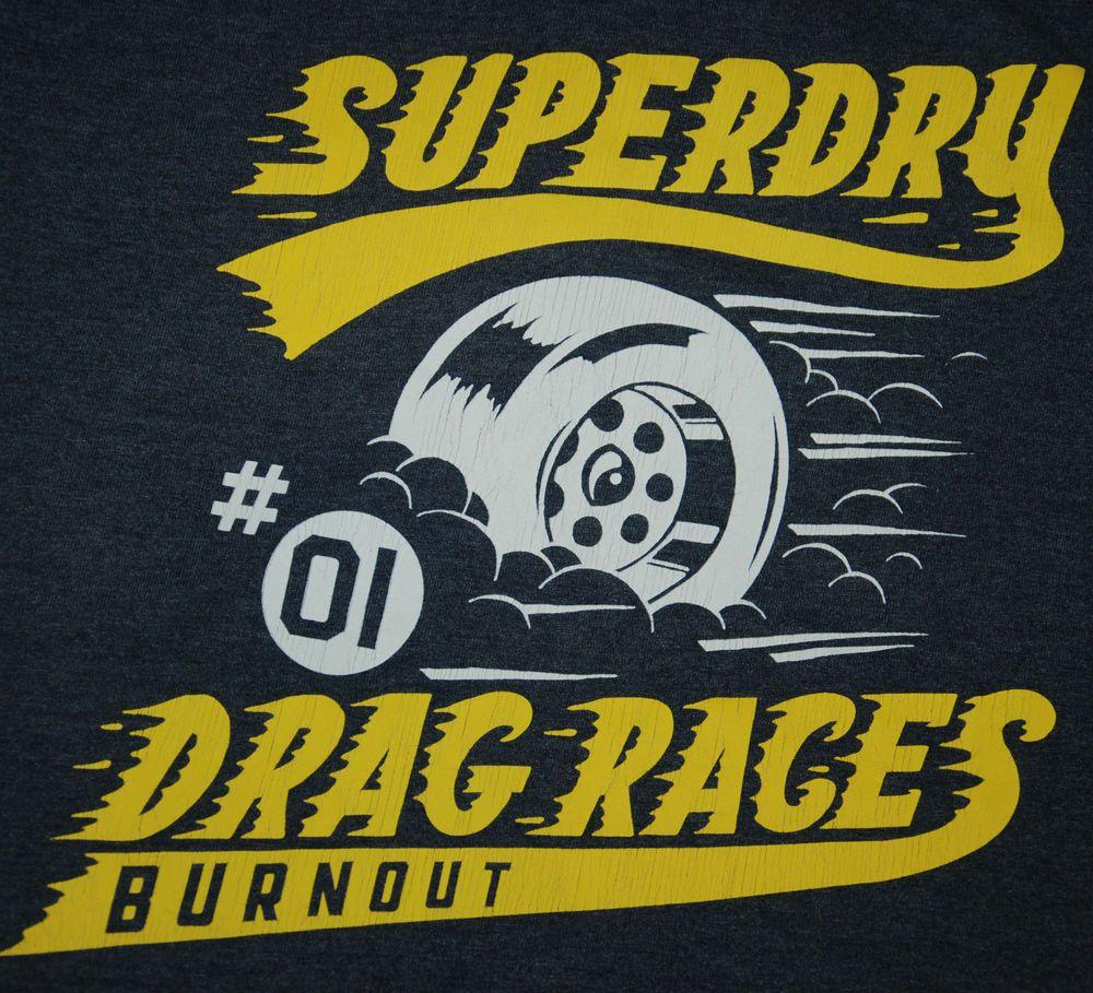 BASED UK SUPERDRY LIN LAB DRAG RACES BURNOUT MENS T SHIRT DARK GREY XL MS1HA682