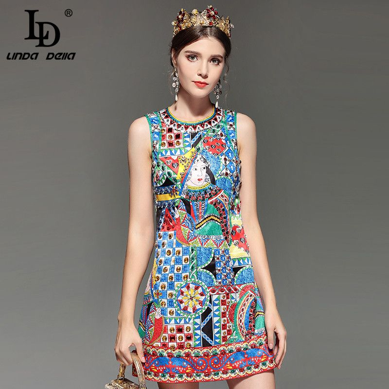 fa93bfab00d8e LD LINDA DELLA Fashion Designer Runway Summer Dress Women's Sleeveless  Noble Diamonds Beading Vintage Straight Short Dress