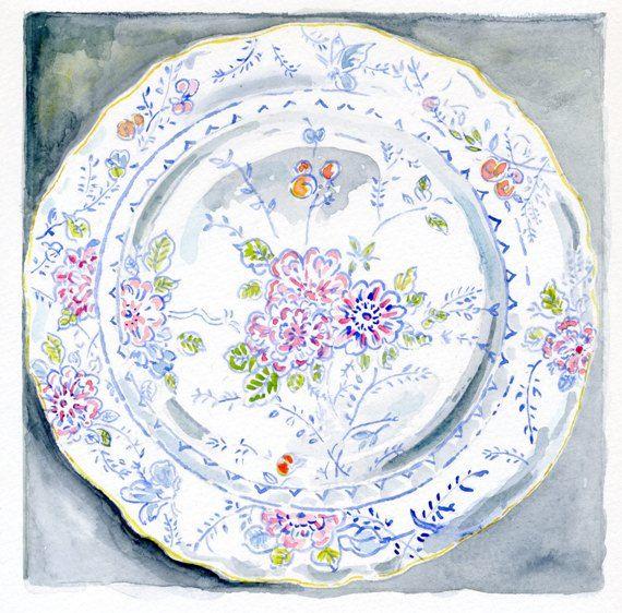 Still Life Kitchen Decor of Original Watercolor Painting -- Floral Vintage Plate. via Etsy.