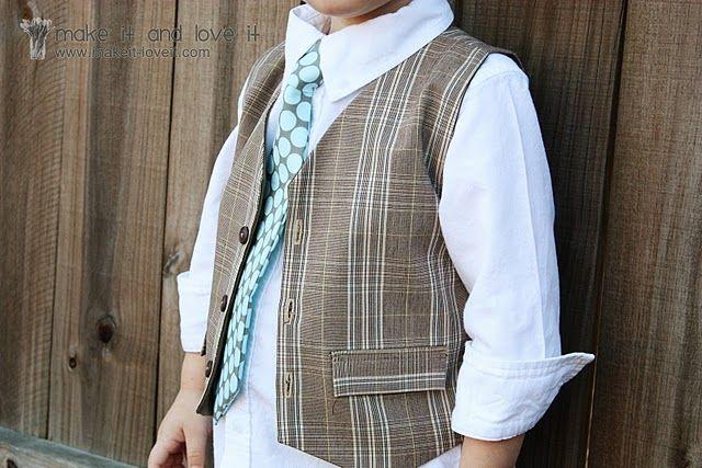 Cute Reversible Boy's Vest from Men's Dress Pants.