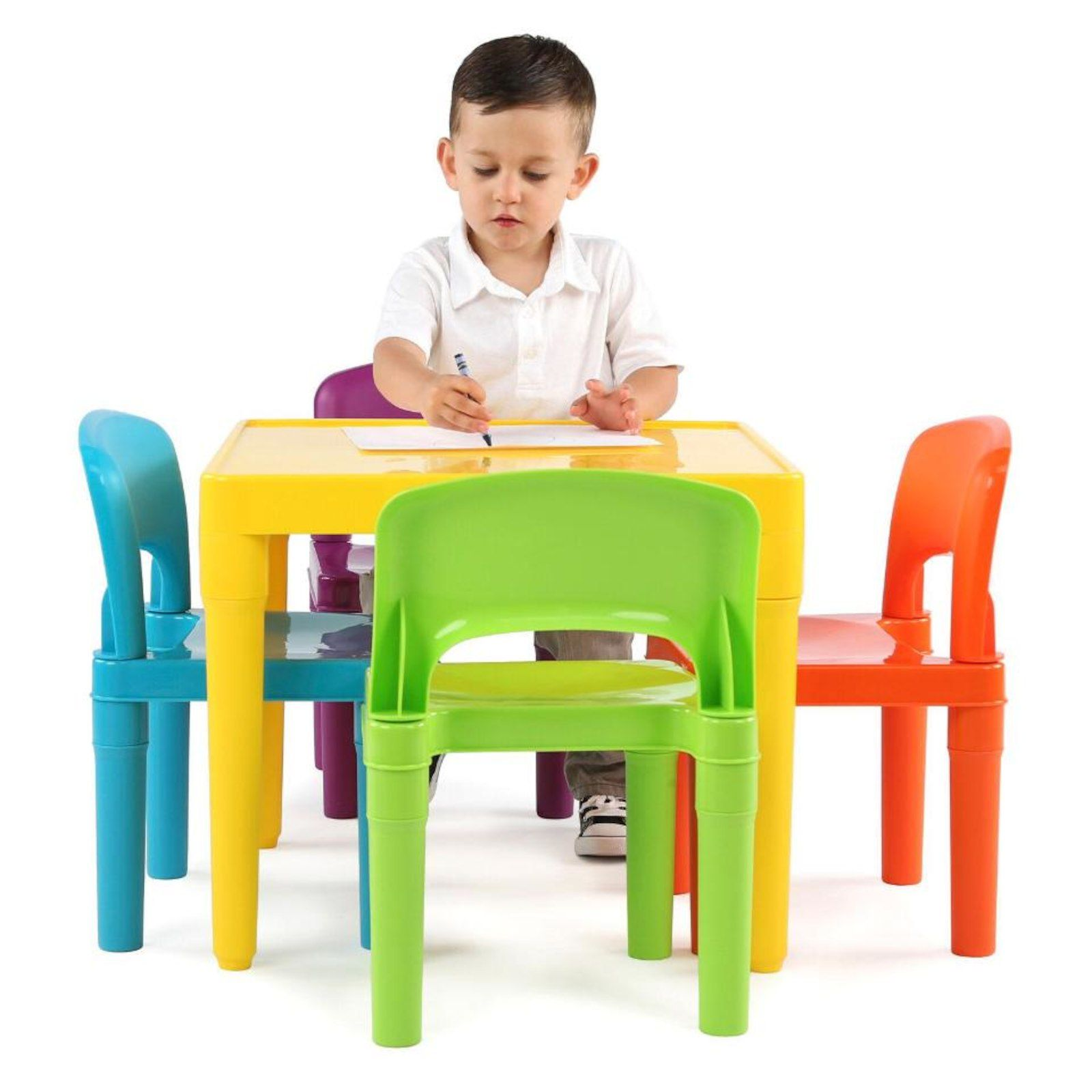 Tot Tutors Plastic Table And 4 Chairs Set Plastic Tables Chair Set Toddler Chair