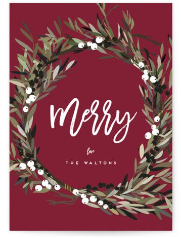 """Photo of """"Modern Wreath"""" – Customizable Holiday Petite Cards in green or pink by Leah Bisch."""