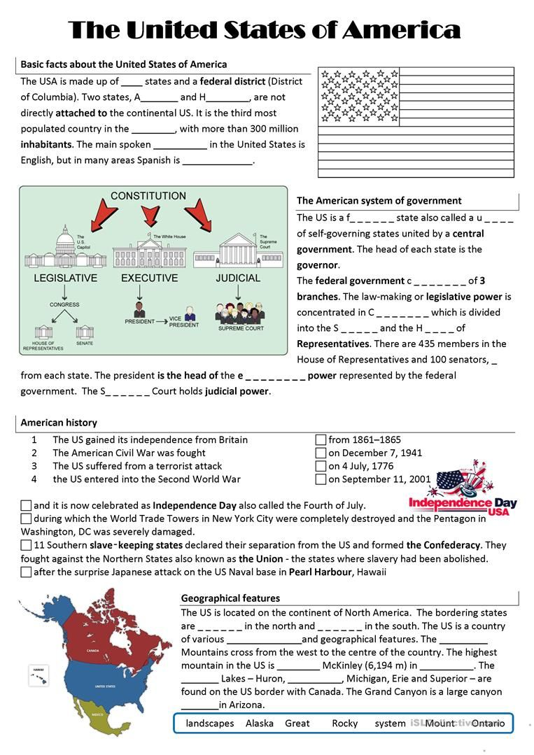 Usa Worksheet Free Esl Printable Worksheets Made By Teachers Skole Aktiviteter
