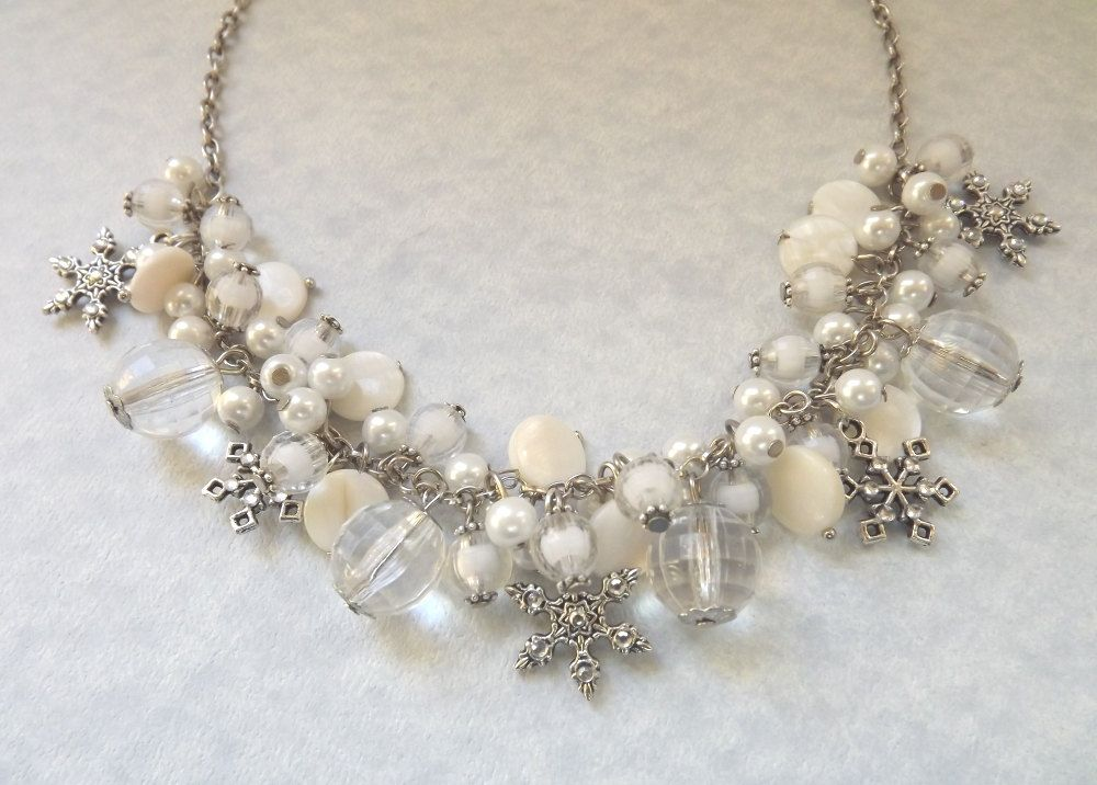 Snowflake Necklace Christmas Statement Necklace Chunky