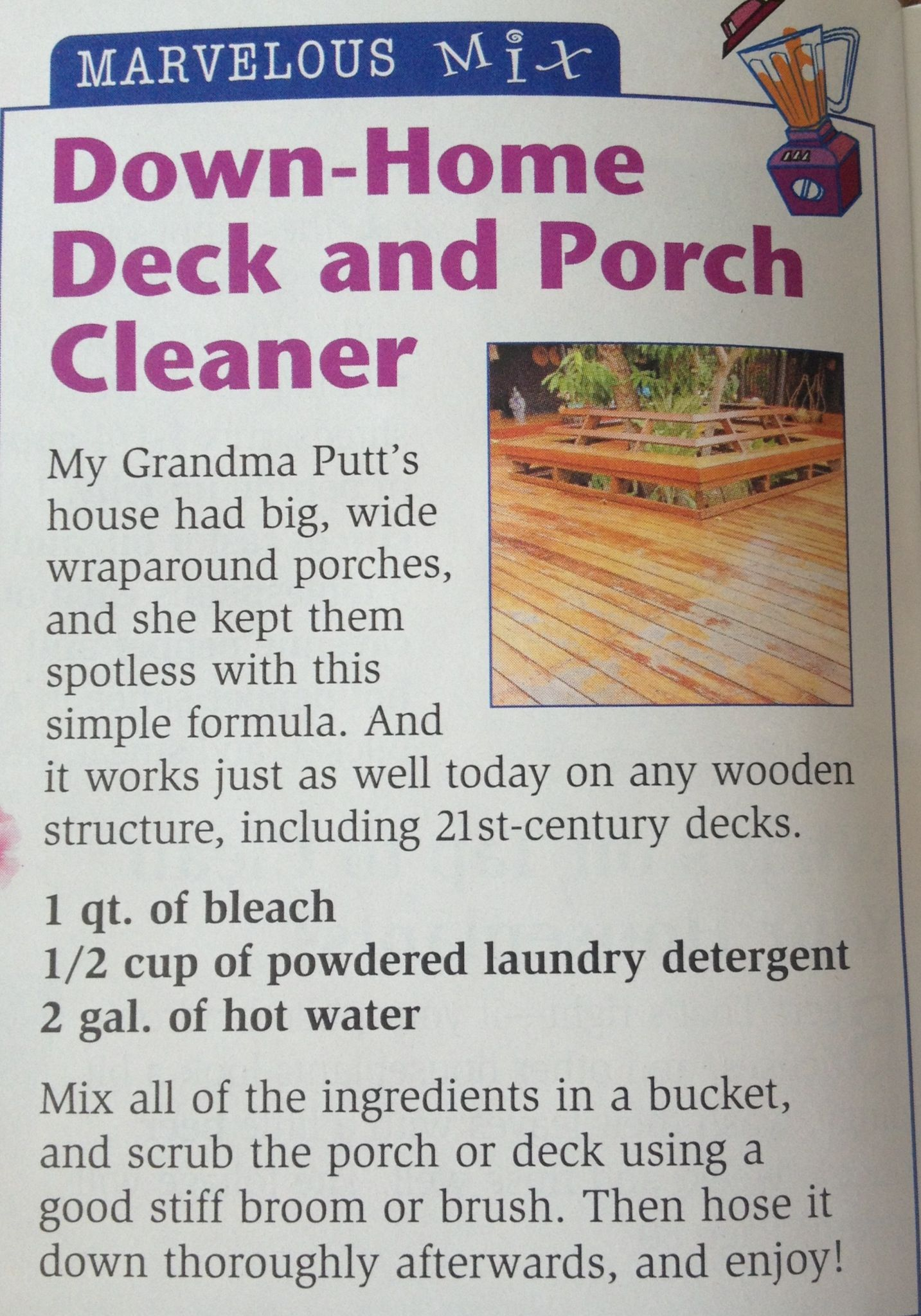 Diy Deck Cleaner Deck And Porch Cleaner Making Life Easier Pinterest