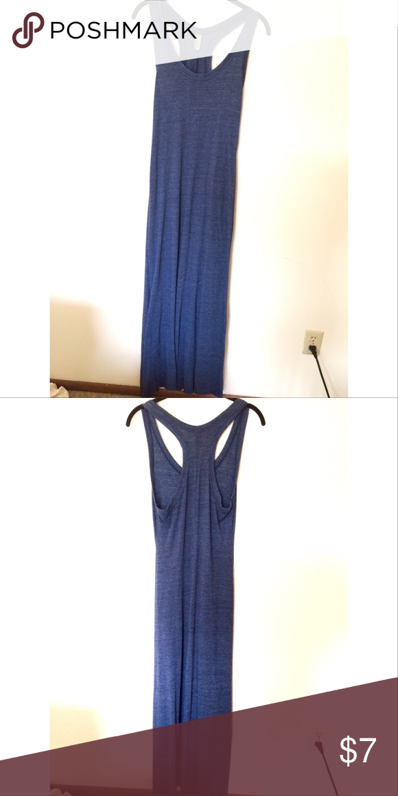 """Blue maxi dress This is a form fitting dress with thin material. It is not too tight and the material is not sheer. The gimmick with this dress is that it's supposed to be """"cut to your preferred length"""". The material rolls slightly at the end, so you can't tell when it's been cut. Dresses Maxi"""