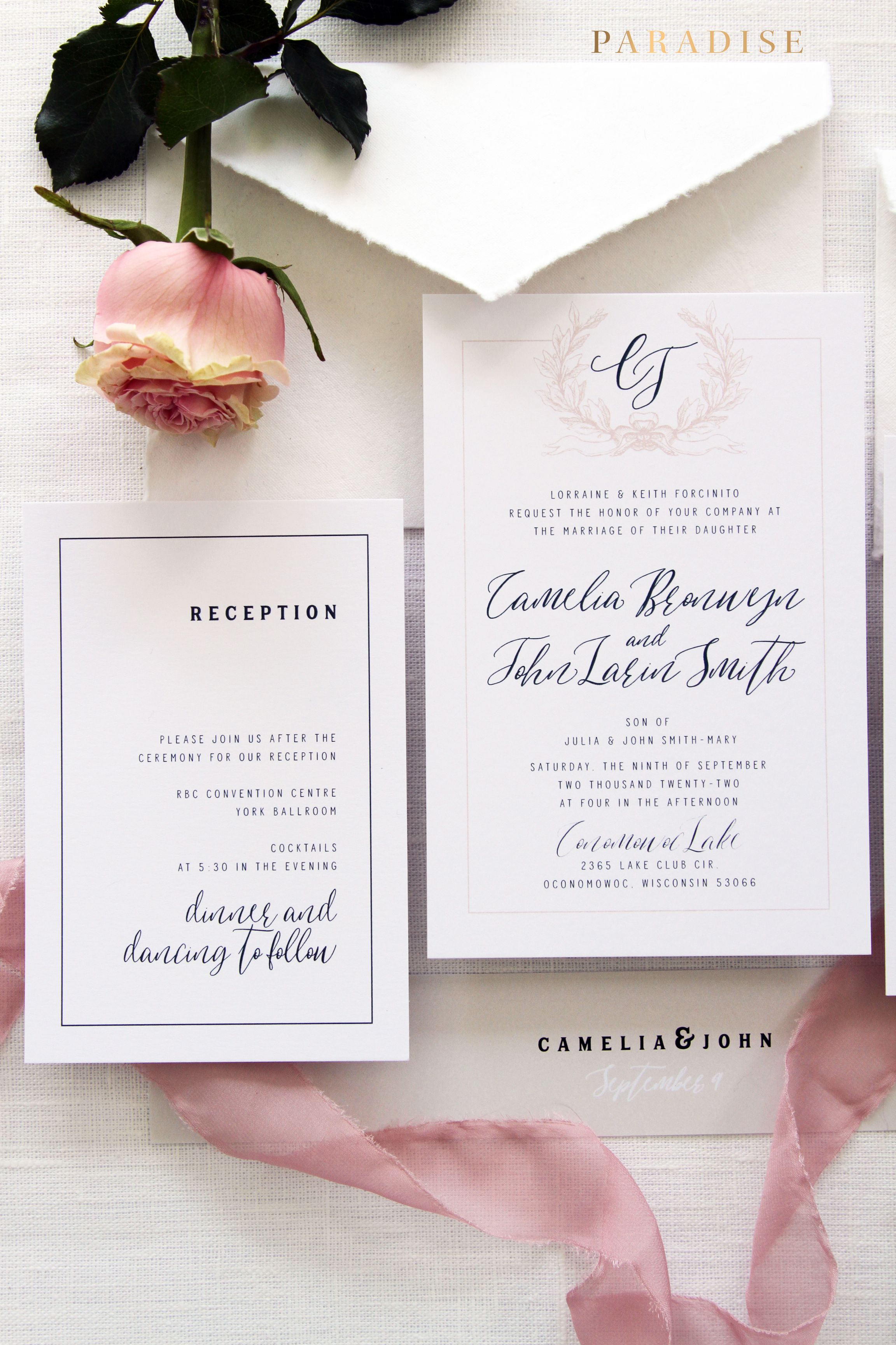 Camelia Wedding Invitation Sets Invitation Set Templates Or - Wedding invitation set templates