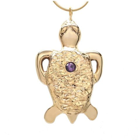 Michele Benjamin - Jewelry Design - 18K Gold Plated Amethyst Flush Set Tortoise Necklace 18 inch L