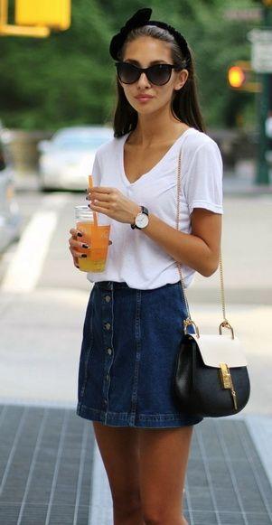 Summer Outfit White Denim SkirtButton