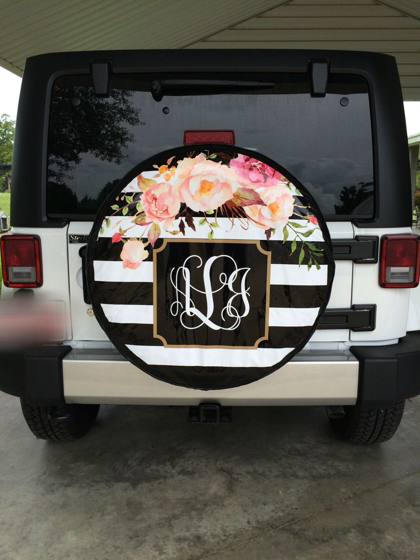 Striped Floral Print Monogram Jeep Tire Cover Jeep Jeepwrangler