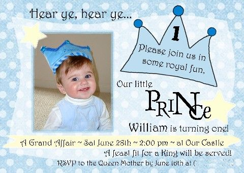 Little Prince 1st Birthday Invitation – Prince 1st Birthday Invitations