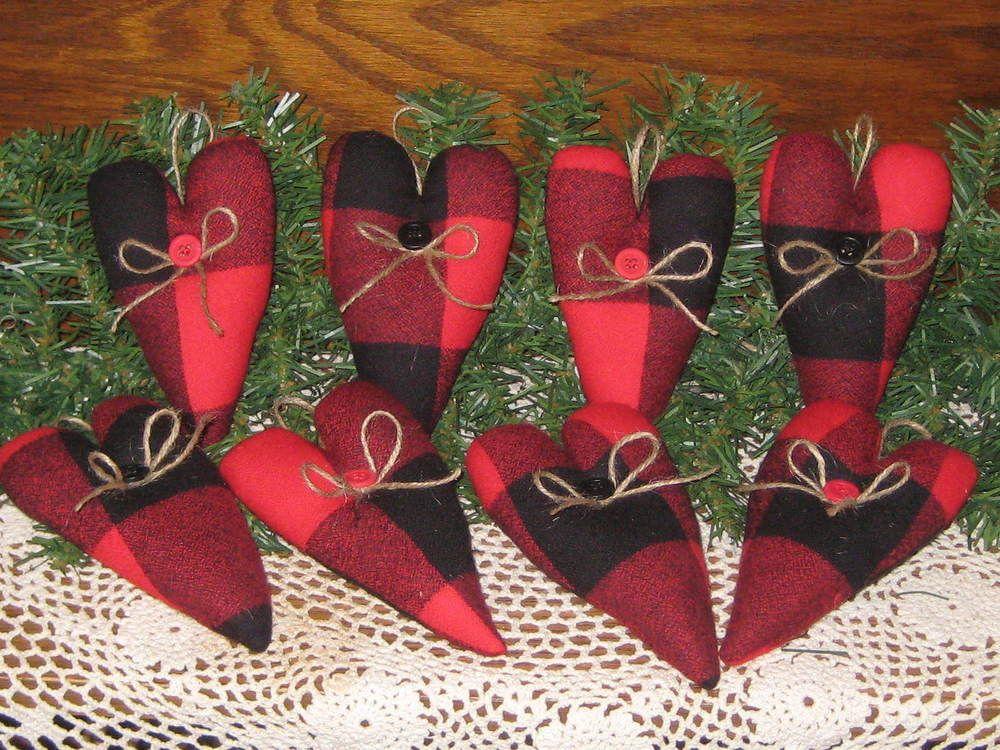 8 Handmade Buffalo Plaid fabric Hearts Tree Ornaments Country