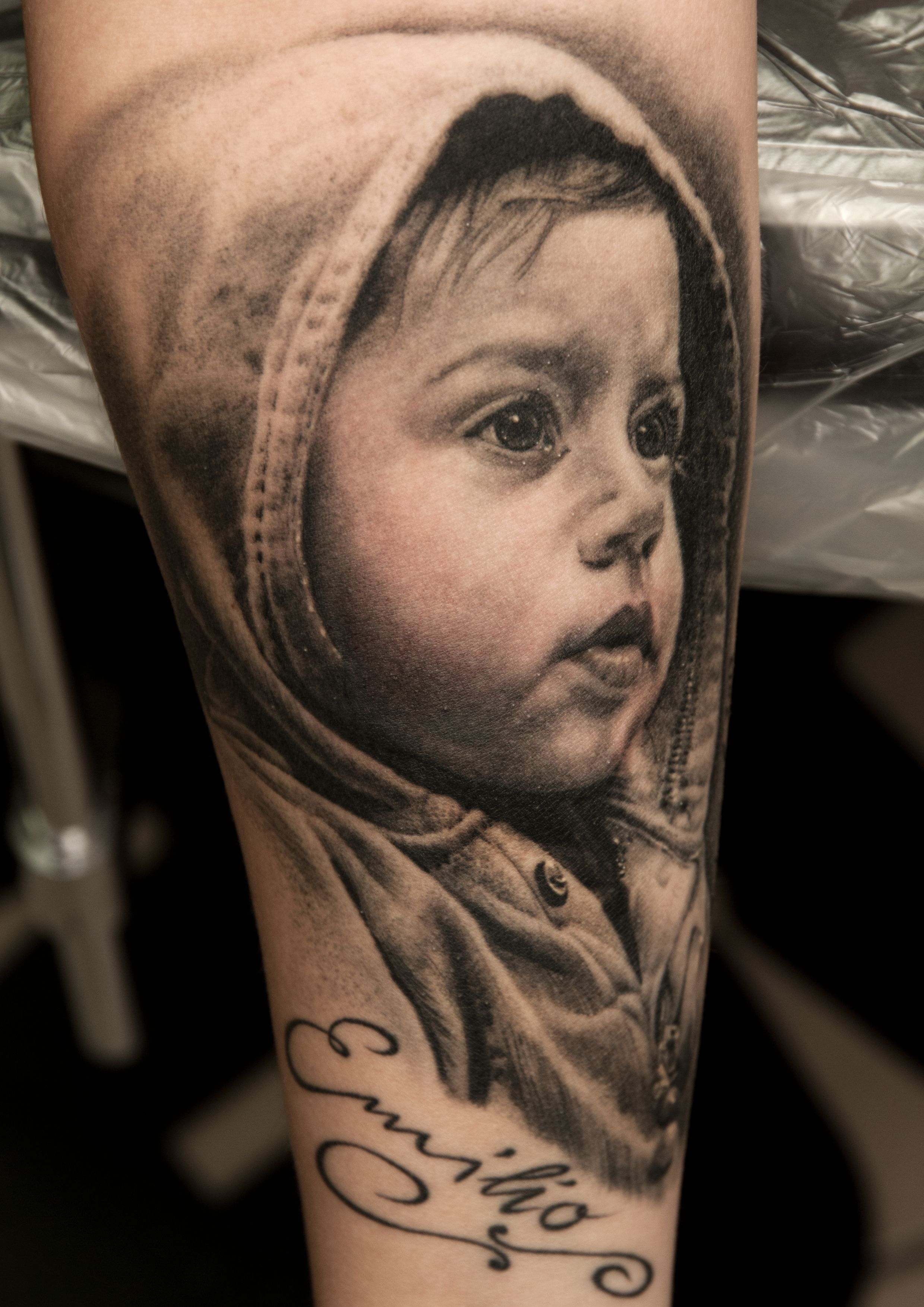 Baby portrait tattoo ideas - Tattoo Artist Andy Engel Portraits Tattoos I Did Of Beloved Ones For Example Children