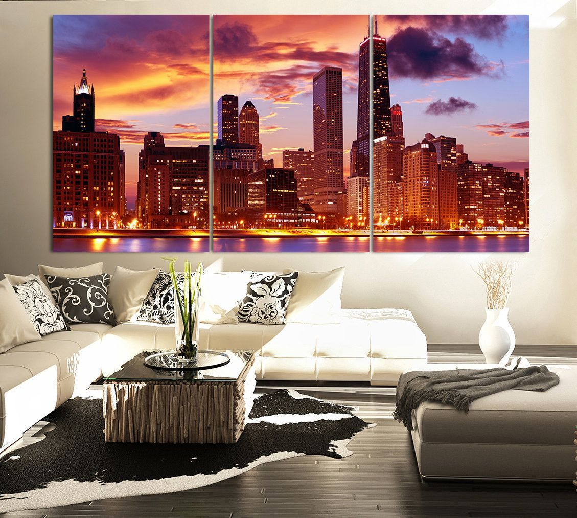 LARGE Wall Art CANVAS Print 3 Panel Beautiful Chicago Skyline Sunset Light    Wall Art Canvas