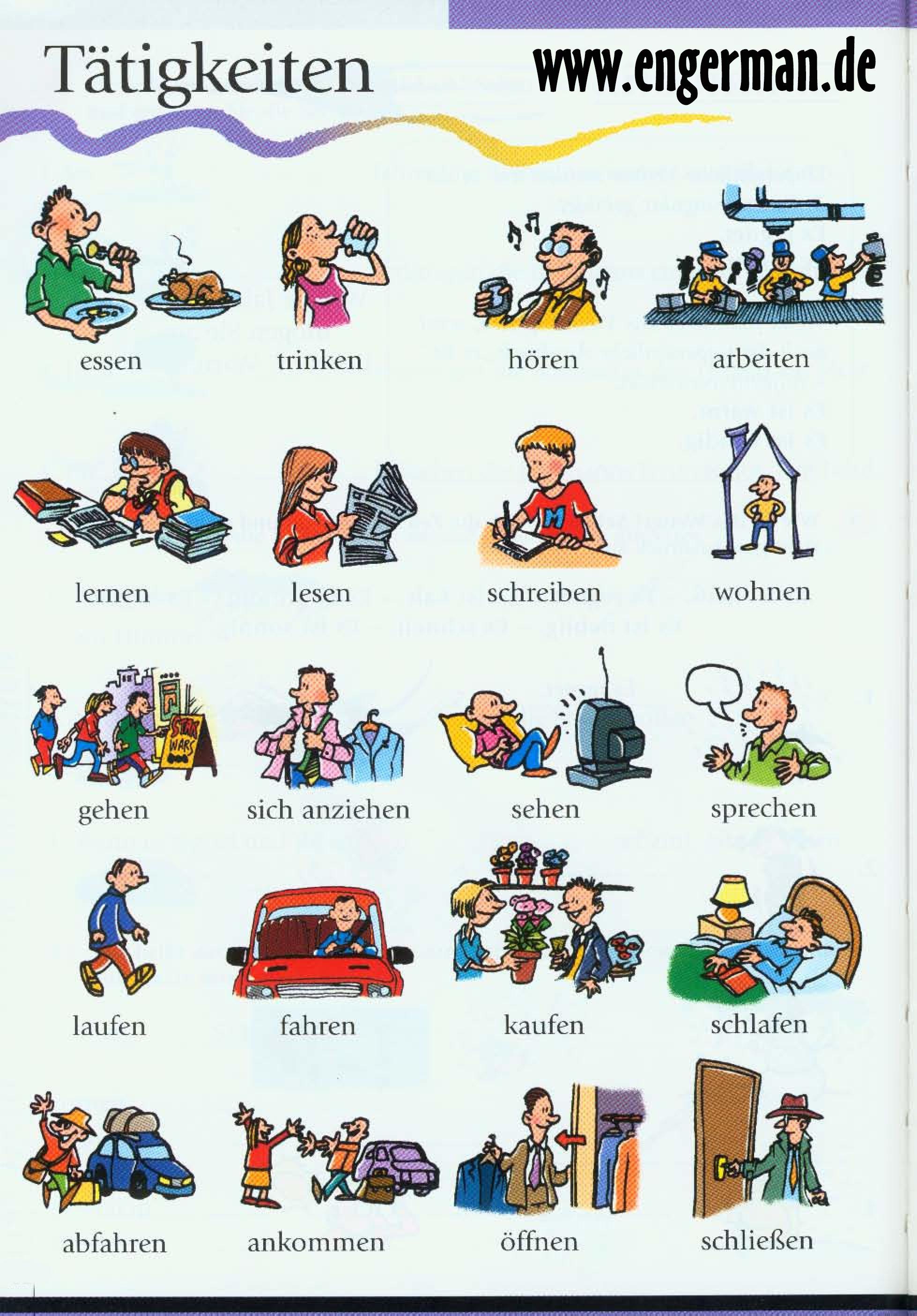Tätigkeit Auf Englisch