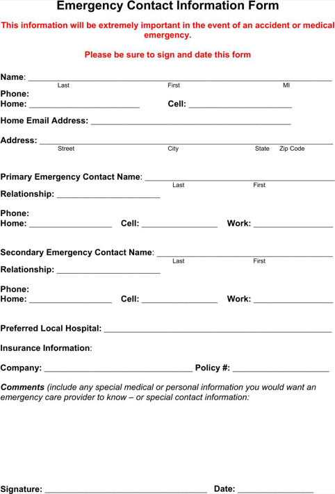 Emergency Contact Form TemplatesForms Pinterest – Emergency Contact Forms