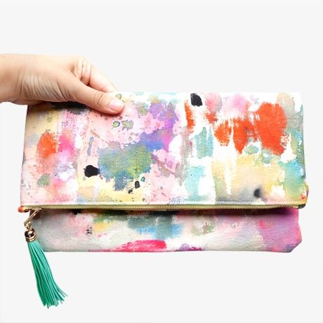 Hand Painted Foldover Tassel Clutch