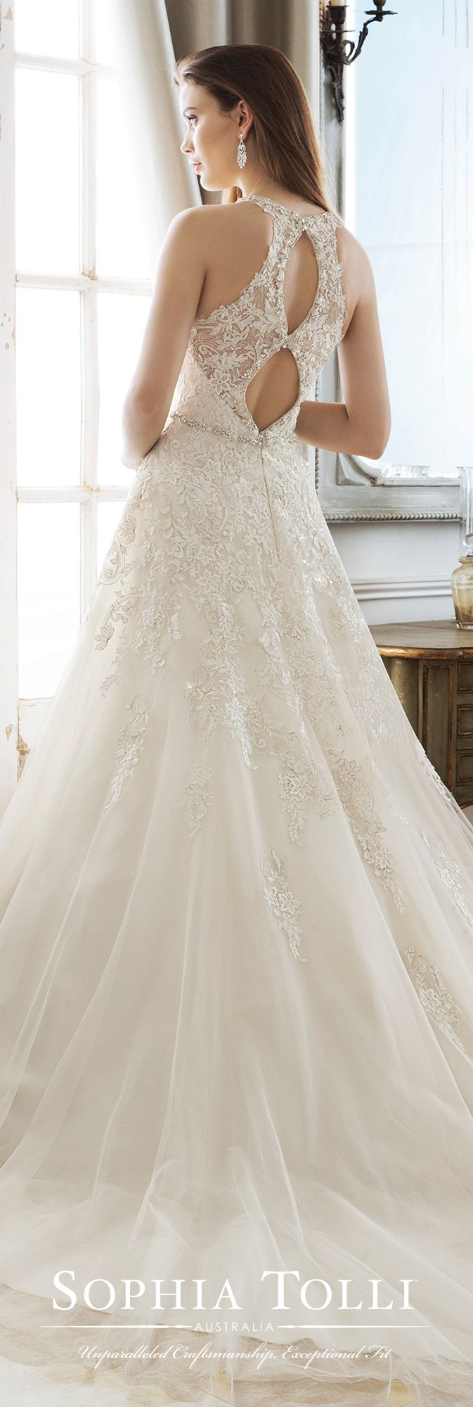 Y kali beaded lace wedding dress and chapel train