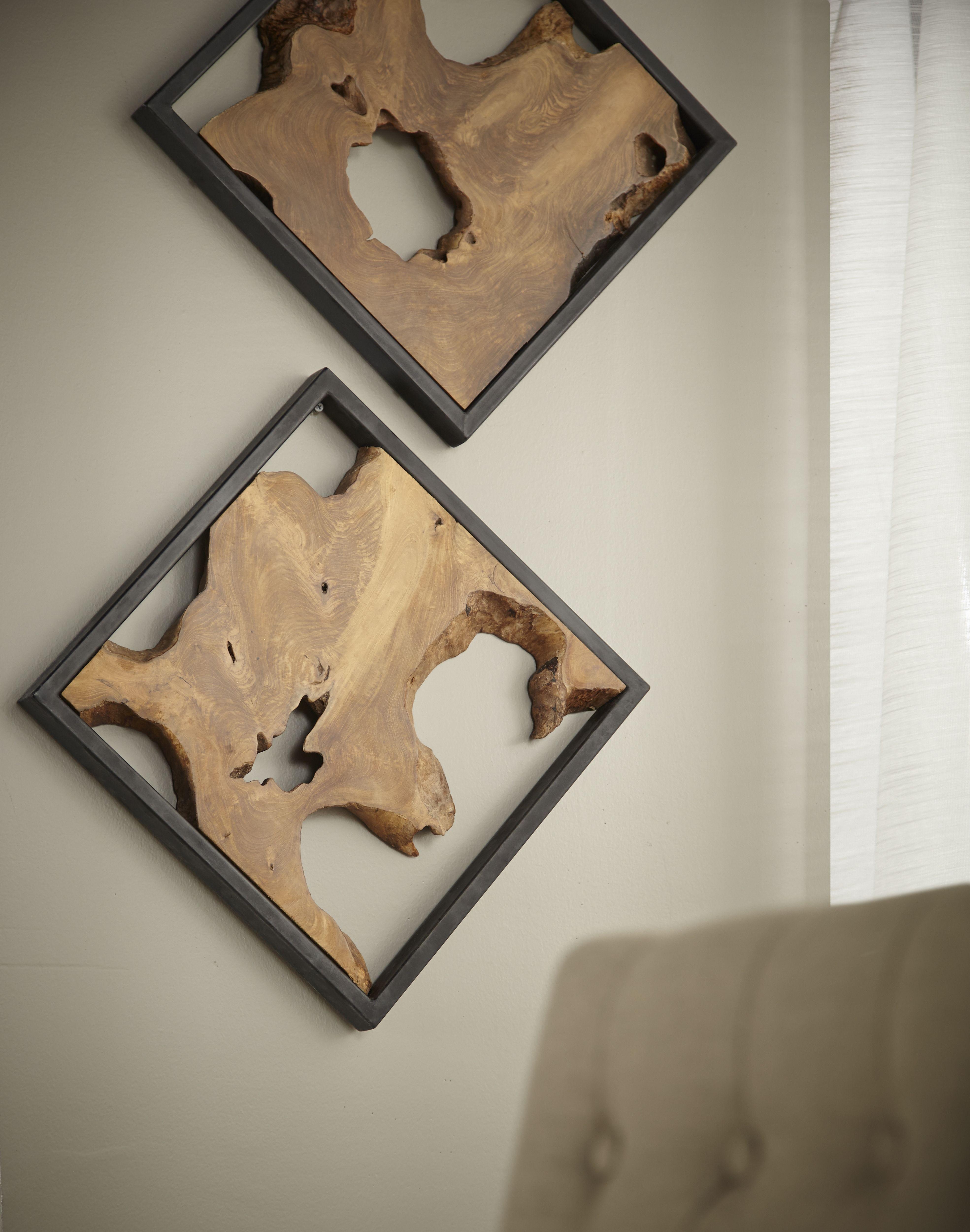 Framed Slice Wall Tile Teak Wood Black Frame Small Wood Projects Wood Projects Diy Wood Projects