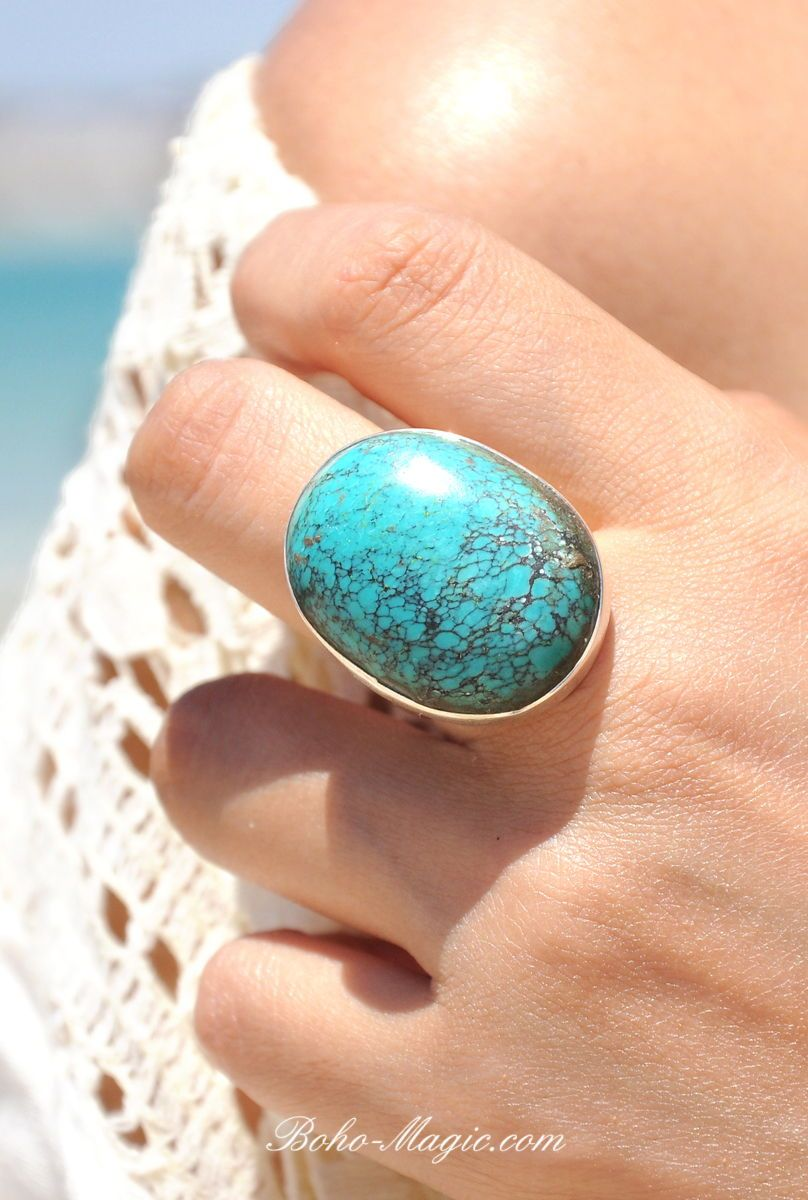Sterling Silver 925 Ring With Turquoise Gemstone Turquoise