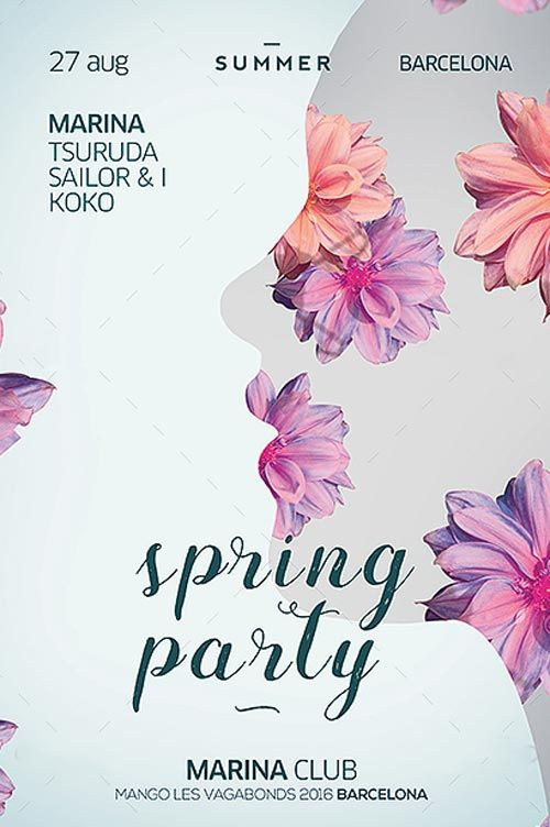 Spring Club Party Flyer Template -   ffflyer/spring-club