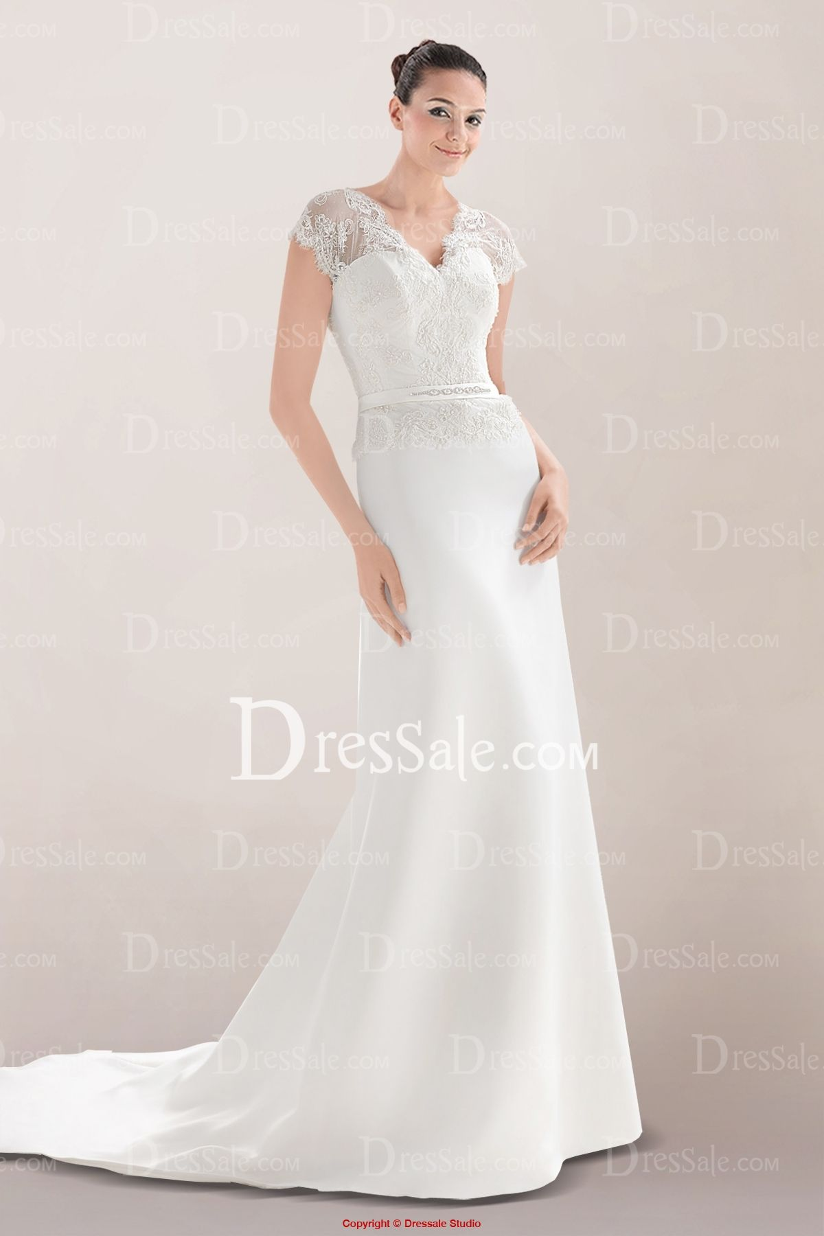 Elegant aline wedding dress with delicate lace bodice and plunging