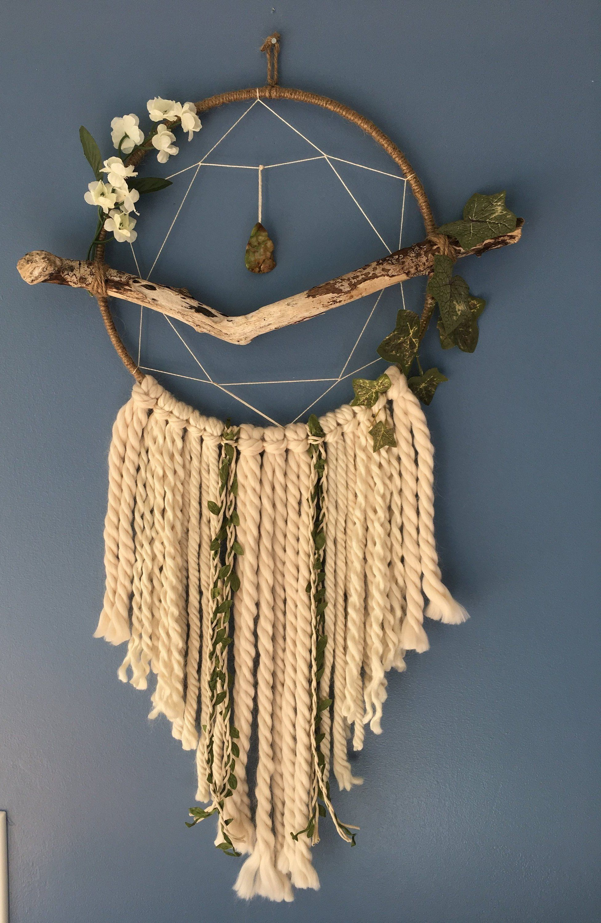 Sprite driftwood dreamcatcher | Dream catcher wall hanging | Boho dreamcatcher | Shabby chic wall art | Boho nursery | Beige, Taupe #dreamcatcher