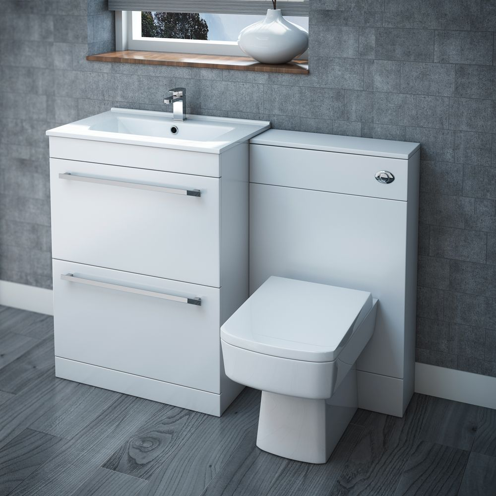 Nova High Gloss White Vanity Bathroom Suite W1100 X D400 200mm