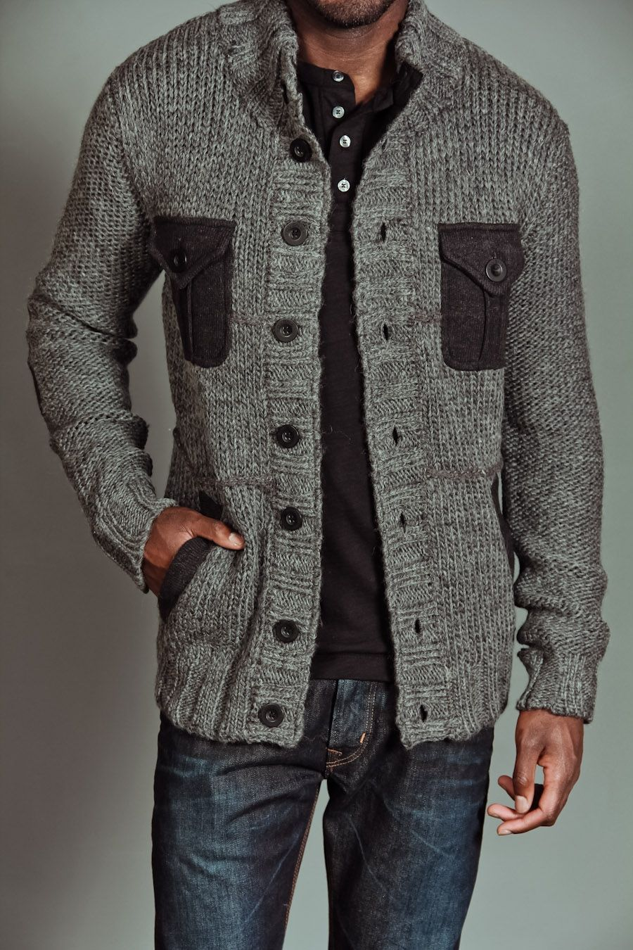 Division E Chunky Cardigan Sweater with Novelty Pockets Charcoal ...