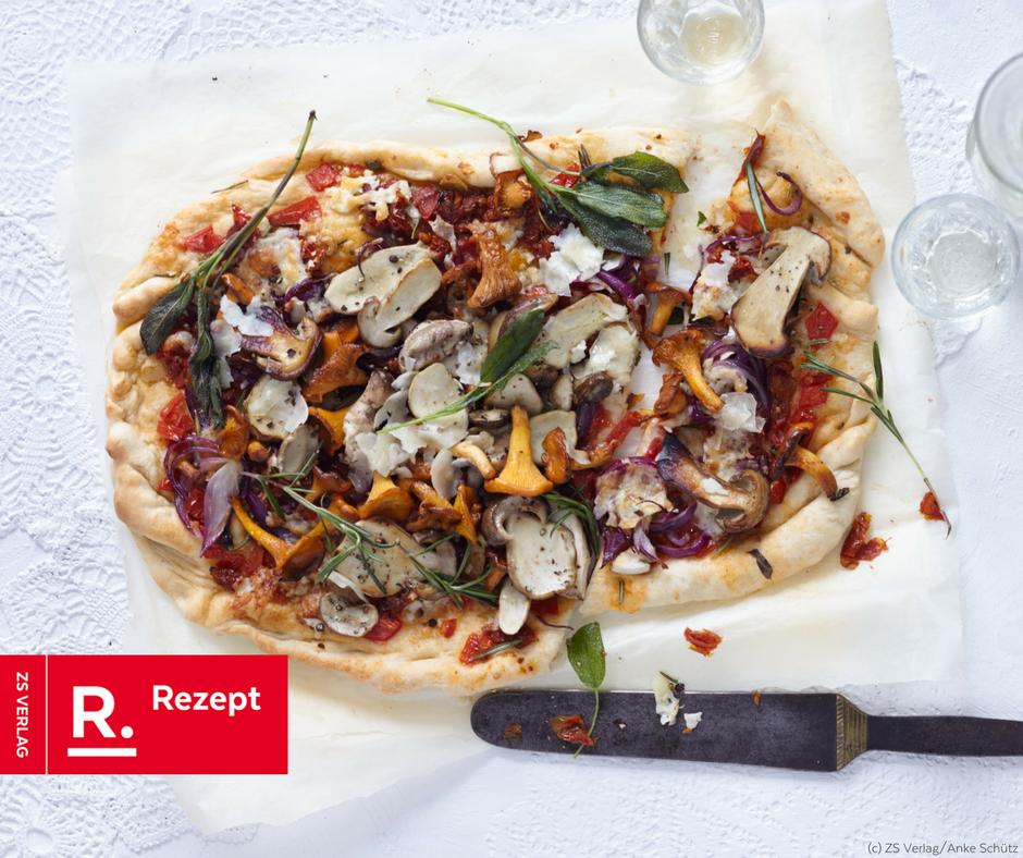 Pizza mit Waldpilzen\